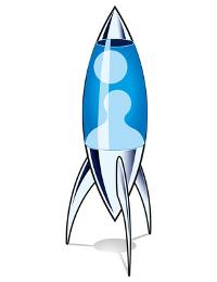 Eine Lavalampe in der Form einer Rakete.