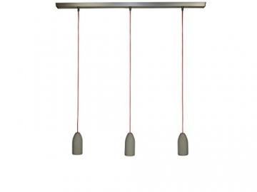 pendelleuchte drei beton lampen textilkabel rot. Black Bedroom Furniture Sets. Home Design Ideas